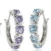 Gemstone S-Design Hoop Earrings in Sterling Silver