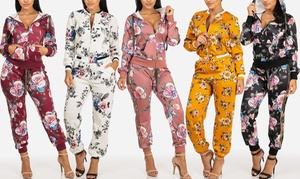 Fashion305 Women's Floral Hooded Jacket and High Waist Pants Set