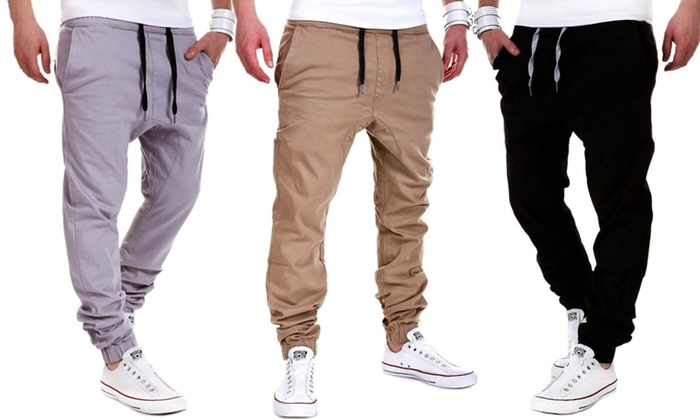 Bas de jogging homme loose house of trends style chino groupon shopping - Bas jogging homme ...