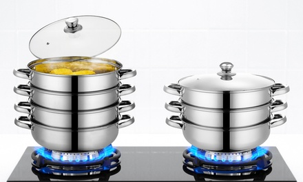 Stainless Steel Steamer Pot: Three-Tier ($29) or Four-Tier ($35) (Don't Pay Up to $89.99)