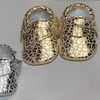 Infant's Genuine Leather Gold or Silver Animal Print Moccasins