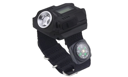 Tactical Outdoor Rechargeable Wrist Watch with LED flashlight