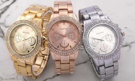 Montre ornée de cristaux Swarovski® de la marque Mestigé, collection Bradberry, livraison offerte