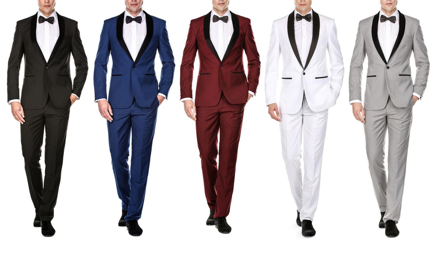 2-Piece Gino Vitale Men's Slim Fit Shawl Lapel Tuxedo