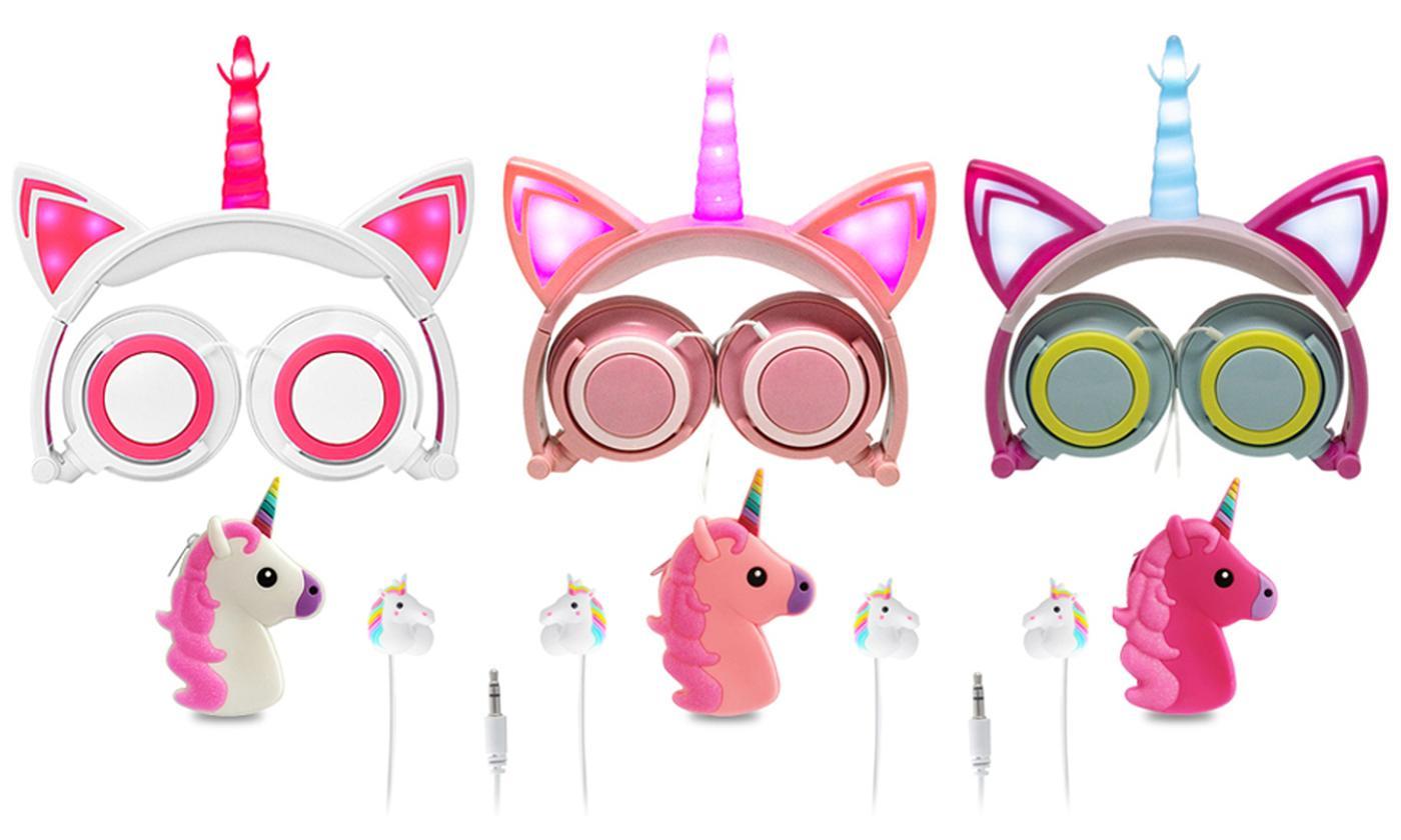 Magic Unicorn Light-Up Headphones, Earphones with Case or Bundle