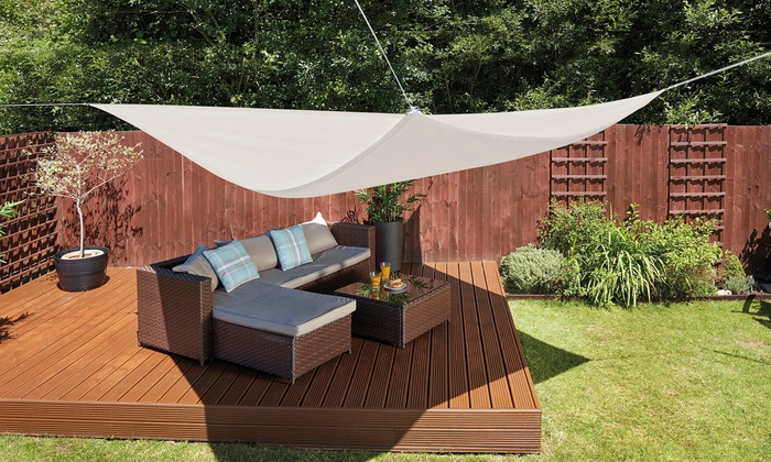 Waterproof and UV-Resistant Sun Shade Sail Canopies in Choice of Size and Colour or Stainless Steel Fixing Kit