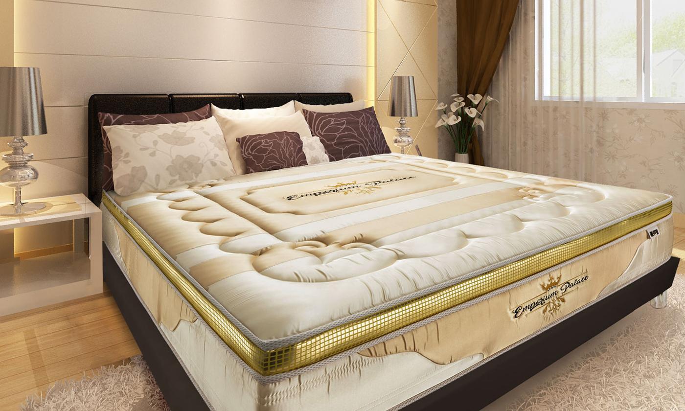 Matelas à mémoire de forme Emporium Palace, marque Sampur avec lit et oreillers en option