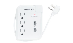 Merkury Innovations AC and USB Surge Protector with Wrap-Up Cord