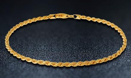 Solid 14K Gold Diamond Cut Rope Chain Bracelet