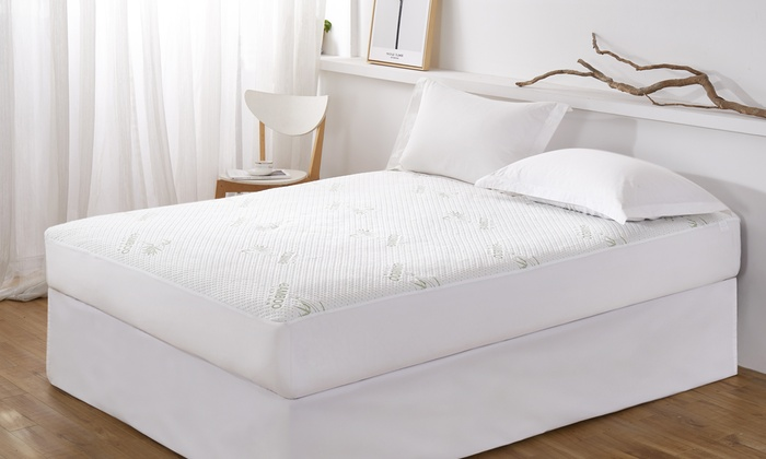 Bamboo Living Waterproof Mattress Protector And Quilted Mattress Pad