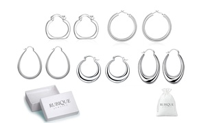Hoop Earring Set in 18K White Gold Plated by Rubique Jewelry (5 Pairs)