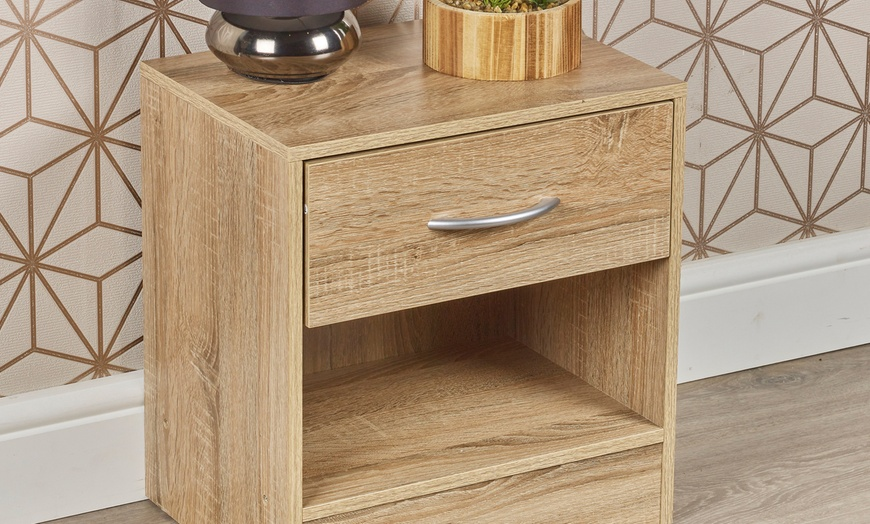 Compact Bedside Table with One Drawer