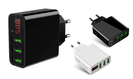 Cargador USB de 3 puertos con pantalla LED