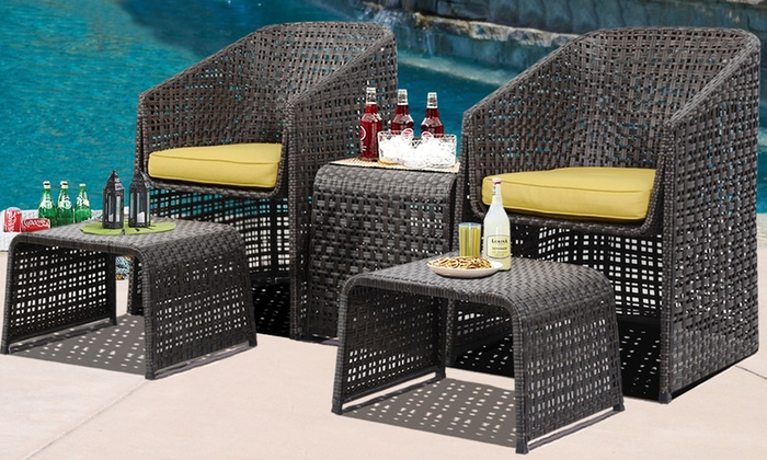 5-Pc Rattan Garden Furniture Set   Groupon Goods