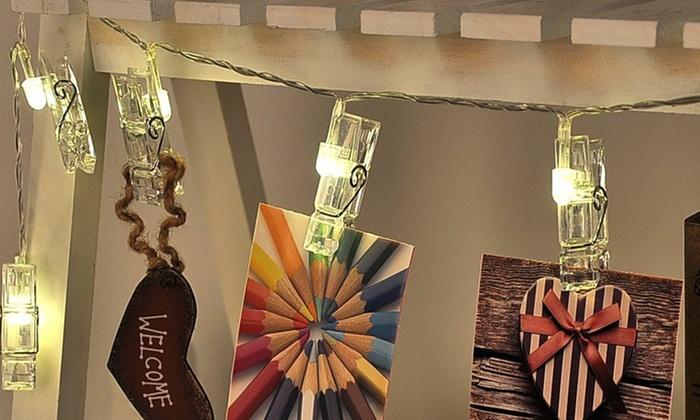 Guirlande avec pinces lumineuses led groupon - Guirlande porte photo avec pinces linge ...
