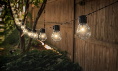 One, Two, Three or Four Sets of Solar-Powered Retro-Style Bulb String Lights