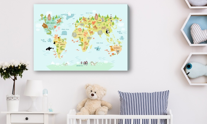 Up to 83 off handmade kids world map canvas groupon handmade kids world map canvas gumiabroncs Choice Image