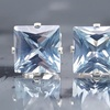 Sterling Silver Princess-Cut Aquamarine Gemstone Stud Earrings