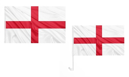Six England Car Flags, Three England Pole Flags or Set of Both