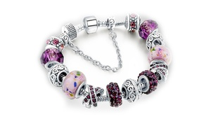 Murano Glass and Crystal Charm Bracelet Made with Swarovski Elements