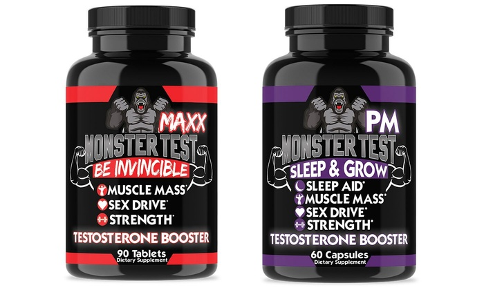 Angry Supplements Monster Test MAXX and PM Testosterone Booster Dietary  Supplements (2-Pack)