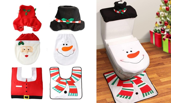 Three-Piece Xmas Toilet Cover Set: One ($20) or Two ($35)