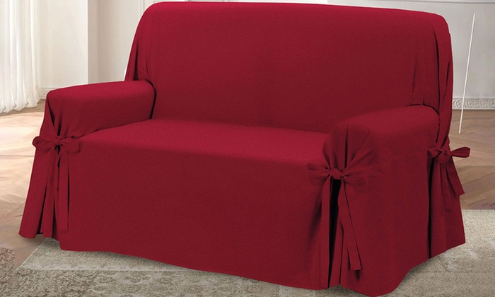 Housses de canap nouettes groupon shopping - Copridivano per divano con penisola ...