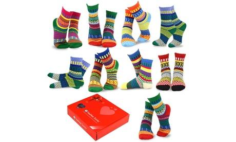TeeHee Women's Winter Crew Fun Socks (9 Pairs) with Gift Box