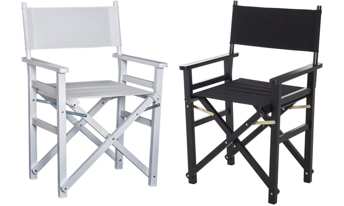 HOMCOM Beech Director's Folding Chair with Wooden Frame