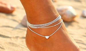 Bracelet cheville multi-chaîne