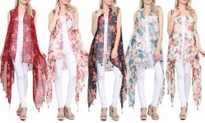 Women's Floral Sheer Handkerchief Vest