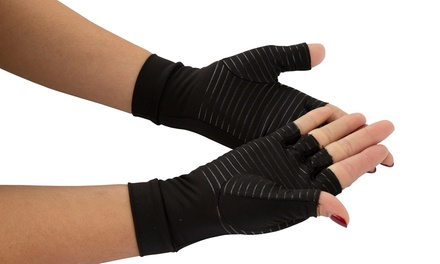 One or Two Pairs of Copper-Infused Compression Arthritis Gloves