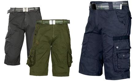 Trisens Cargo-Shorts aus 100% Baumwolle und mit Gürtel im Modell und in der Farbe nach Wahl