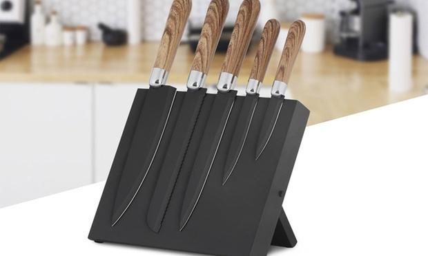 Six Piece S S Knife Block Set Groupon