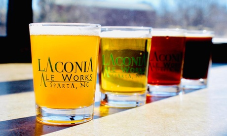 Beer Tasting for 1, 2, or 4 with Flights, Pints, and Souvenir Glasses at Laconia Ale Works (Up to 25%...