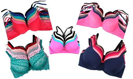 Padded, Racerback, Lace Full-Cup, or Lace Demi-Cup Bras (6-Pack) 3ea27002-bf2c-11e7-b105-00259069d7cc