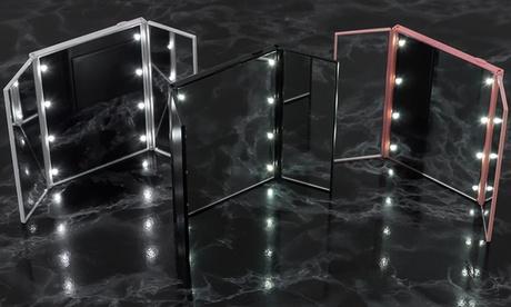 1 o 2 espejos de viaje portátiles plegables con LED 8 y soporte