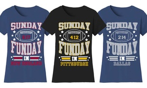 Women's Fitted Sunday Funday Football T-Shirt. Plus Sizes Available