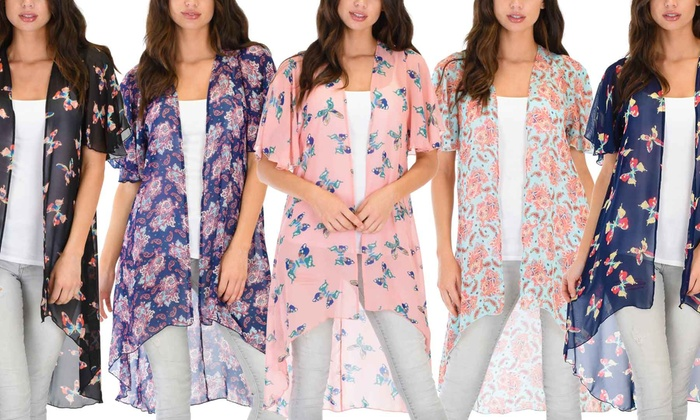 Lyss Loo Women's Patterned Sheer Kimono Cardigan. Plus Sizes Available.