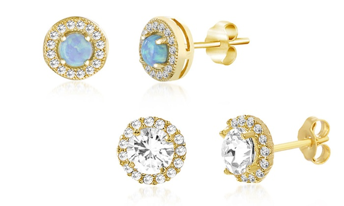36a6dff31 Nina & Grace Lab-Created Opal Earring Set in Gold over Sterling Silver