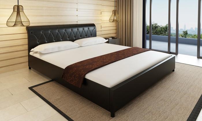 jusqu 39 43 lit capitonn en simili cuir groupon. Black Bedroom Furniture Sets. Home Design Ideas