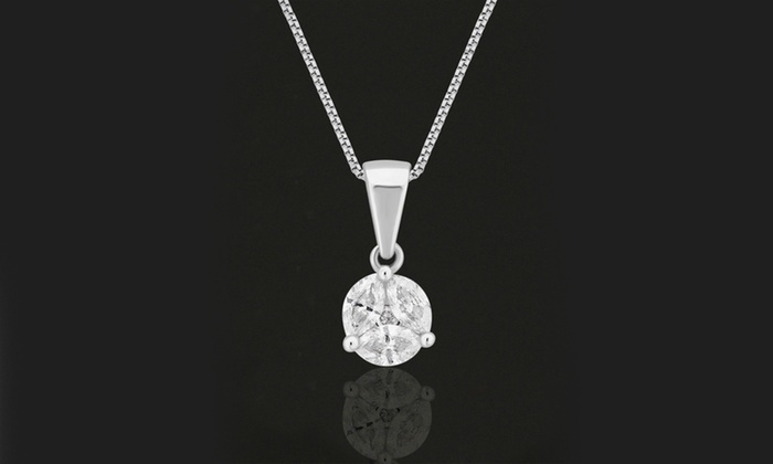 Up to 80 off on diamond pendant and necklace groupon goods 38 cttw diamond pendant and necklace in 14k white gold by diamondmuse aloadofball Choice Image