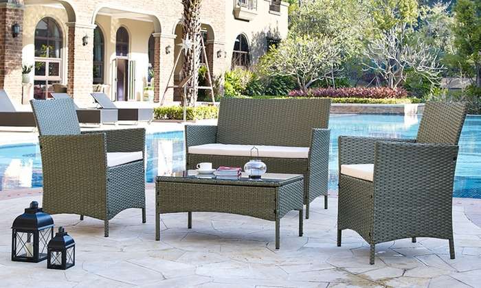groupon goods global gmbh four piece rattan effect garden furniture set in choice