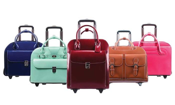 McKlein Ladies Top Grain Leather Wheeled Cases