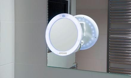 Espejo de baño con ventosa LED y 5 aumentos