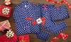Angelina Blue Polka Fleece Pajama Set, Onesies, or Sleep Bottoms