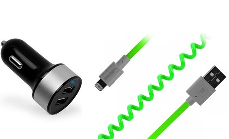 2.4-AMP Dual-Port Car Charger and 4' Apple-Certified Lightning Cable!