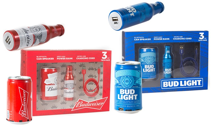 Budweiser Or Bud Light Bluetooth Speaker Power Bank And Cable Set Groupon