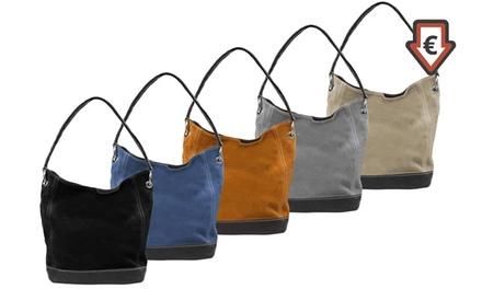 Handtasche aus Nubukleder mit Reißverschluss in der Farbe nach Wahl