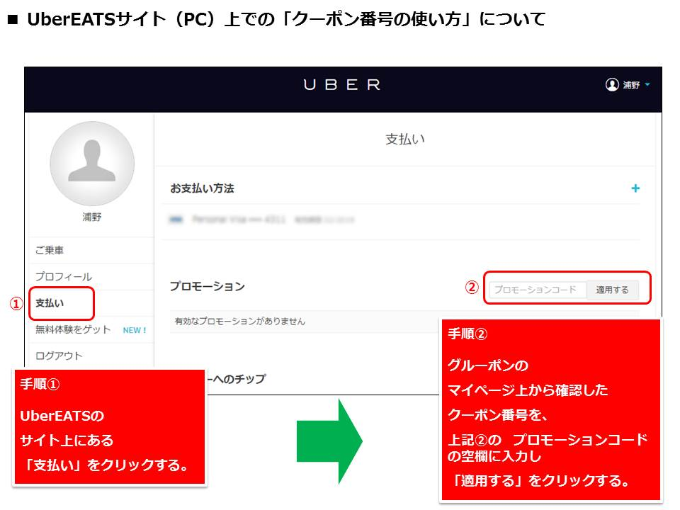 uber クーポン 使い方